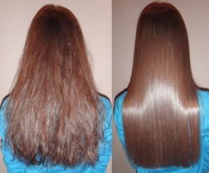 До и после желатиновой маски для волос