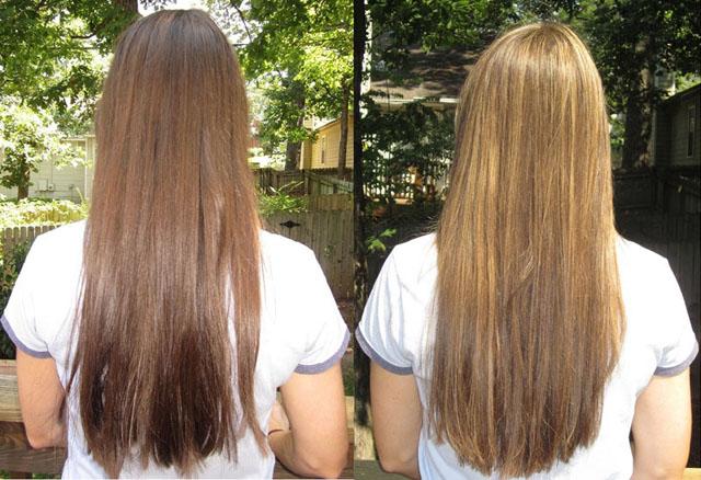 Осветление волос корицей - до и после
