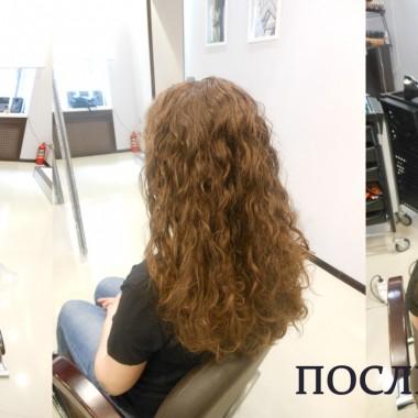 Биозавивка волос до и после 2