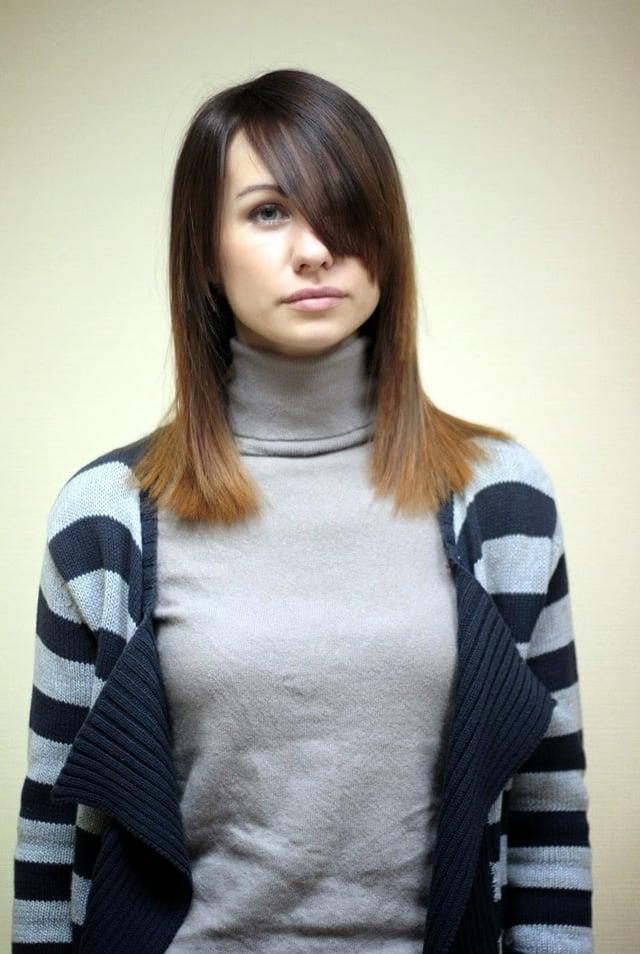 Омбре на короткие волосы - спереди 7