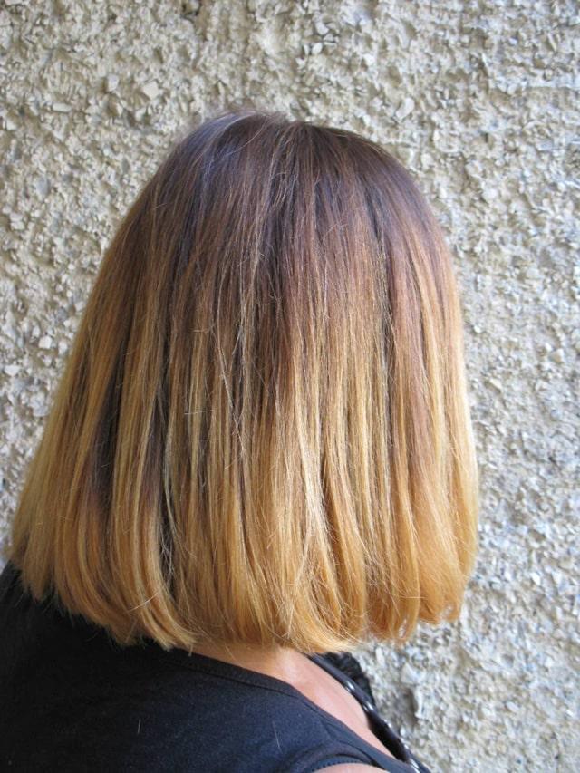 Омбре на короткие волосы - вид сзади