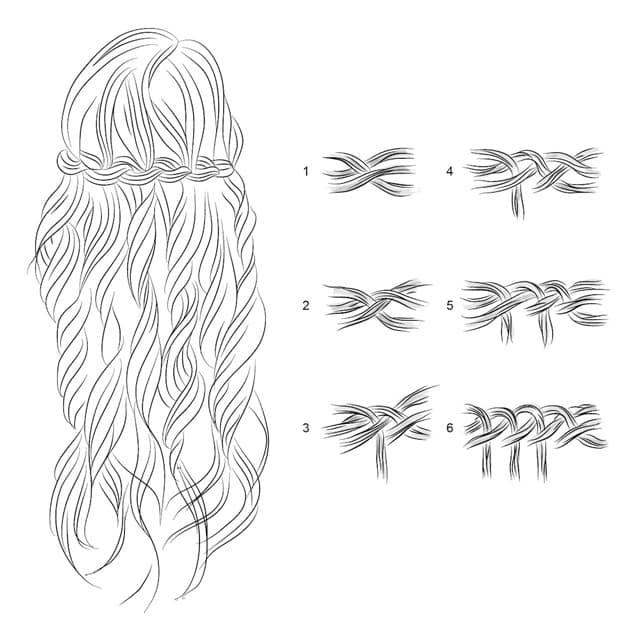 коса водопад схема плетения