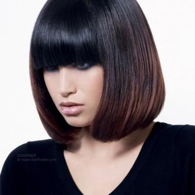 Фото омбре на темных волосах - вид спереди