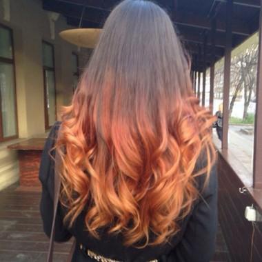 Фото омбре от темно-русого к ярко рыжему