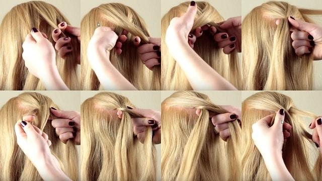 Фотография плетения косы каскадным способом