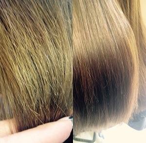 Фотография волос до и после полировки