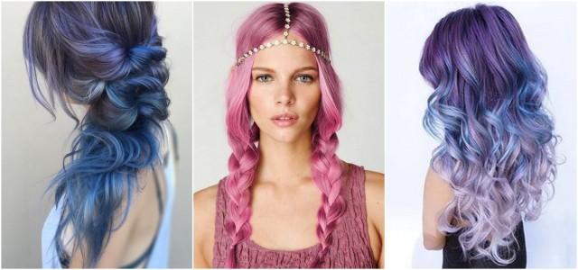 Фото длинных разноцветных волос