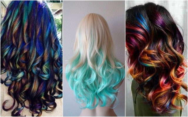 Окрашенные мелками темные и светлые волосы