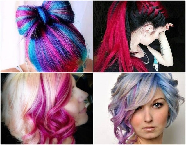 Оригинальные прически из цветных волос